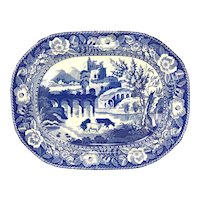 Large 19th c Blue & White English Staffordshire Transferware Platter with Cows, Well & Tree
