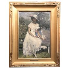 Clara D. (Simpson) Davidson Oil Painting of a Woman, The Pink Camellias