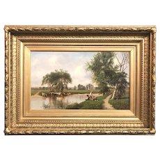 Clinton Loveridge Landscape Oil Painting of Children & Cows By A River