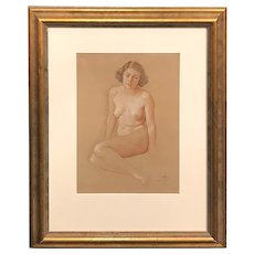William MacGregor Paxton Mixed Media Drawing of a Young Woman, Nude in Thought, 1932