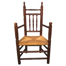Wallace Nutting Pilgrim Style Carver Chair with Rush Seat