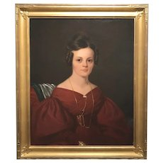 Albert Gallatin Hoit 19th Century Oil Painting Portrait of a Woman