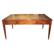 English Hepplewhite Style Leather Top Mahogany Partners Desk by William Tillman