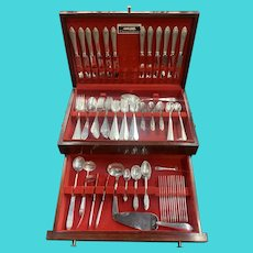 Tiffany & Co Sterling Flatware Set in Faneuil Pattern Service for 12 plus