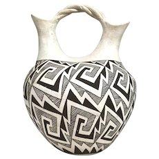 Signed Marie Zieu Chino Acoma Pueblo Southwest Pottery Wedding Vase