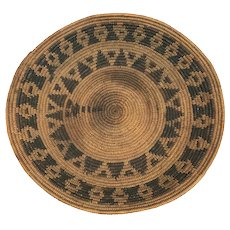 Yokuts California Native American Rattlesnake Basket or Coiled Basketry Bowl circa 1900