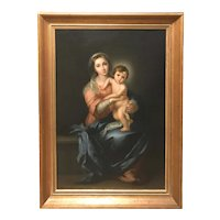 Luigi Pompignoli 19th c Oil Painting Portrait of Madonna & Child, After Murillo