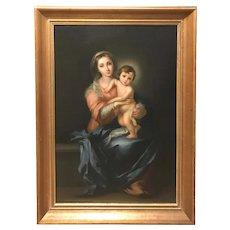 Luigi Pompignoli 19th c Oil Painting Portrait of Madonna & Child, After Murillo