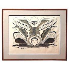 Kenojuak Ashevik Inuit Limited Edition Stone Cut Print, The Owl Surveys All, 15/50 1983