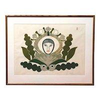 Kenojuak Ashevik Inuit Limited Edition Stone Cut Print, The Owl and I, 43/50 1975