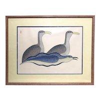 Kenojuak Ashevik Inuit Limited Edition Stone Cut Print, Sailing on Spirit Bird, 15/50 1983