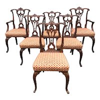 Set of Six Mahogany Chippendale Style Dining Chairs with Carved Foliate Decoration