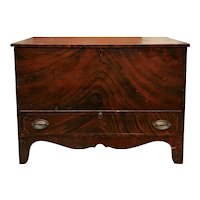 19th Century New England One Drawer Grain Painted Blanket Chest