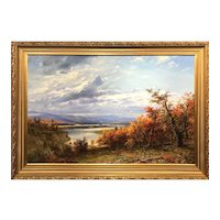 Erik Koeppel Monumental NH Autumn Landscape Oil Painting, Mt. Washington Valley