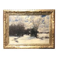 John Appleton Brown Oil Painting of a Winter Landscape