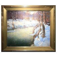 George Ames Aldrich Oil Painting Landscape, Winter Brook