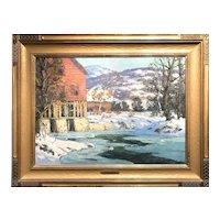 Walter Koeniger Landscape Oil Painting, Winter Mill
