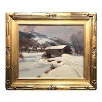 Emile Albert Gruppe Winter Landscape with a Covered Bridge, Jeffersonville VT