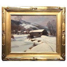 Emile Albert Gruppe Winter Landscape with a Covered Bridge, Jeffersonville VT