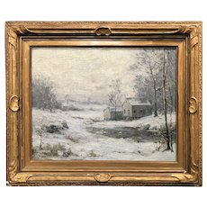 Frank W. Loven Oil Painting Winter Landscape