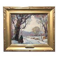 Georges (Jack) LaChance Oil Painting Winter Landscape, Boundary Line