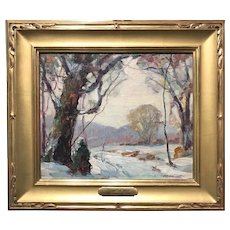 Georges (Jack) LaChance Oil Painting Winter Landscape, Boundary Line