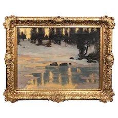 Harold C. Dunbar Oil Painting Winter Landscape with Golden Light 1912