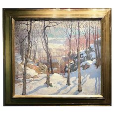 William Lester Stevens Oil Painting Landscape, Rockport in Winter 1922