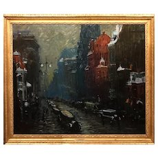 Arthur Clifton Goodwin Oil Painting Cityscape, Fifth Avenue New York, 1922