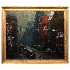 Arthur Clifton Goodwin Oil Painting Cityscape, Fifth Avenue New York, 1922