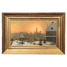 Mortimer L. Smith Oil Painting, Town Scene in Winter, 1875