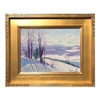 Gerrit A. Beneker Winter Landscape Oil Painting, Mt. Mansfield VT 1931