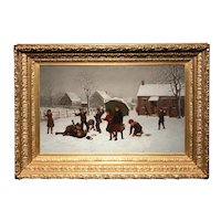 Exceptional Samuel S. Carr Winter Oil Painting with Children, School's Out 1889