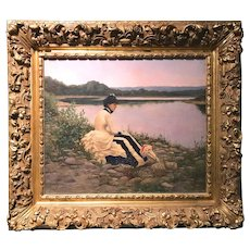 William Anderson Coffin Oil Painting of a Young Woman, Reflections 1885