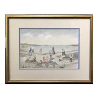 "Martha Cahoon Crayon & Pencil Folk Art Coastal Scene Titled ""Picnic,"" Cape Cod MA"