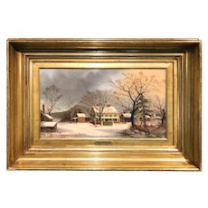 George Henry Durrie and George Boice Durrie Oil Painting Winter Landscape, Miles To Salem 1862