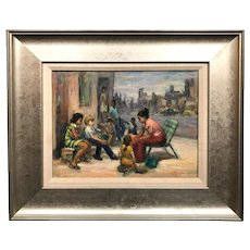 George L. Wilson Oil Painting with Children, Story Time 1975