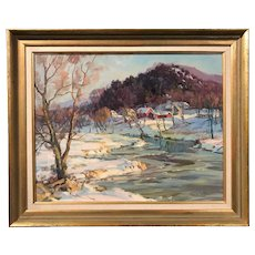 Thomas R. Curtin Oil Painting, Winter Landscape