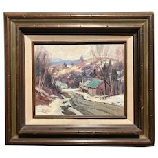 Thomas R. Curtin Oil Painting, Winter Landscape Near Jeffersonville, VT