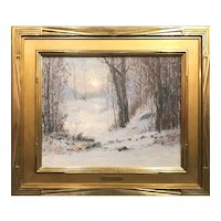 Leonard Ochtman Oil Painting Winter Landscape, Sunlight Through The Trees