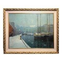 Arthur Clifton Goodwin Boston Winter Harbor Oil Painting, T Wharf