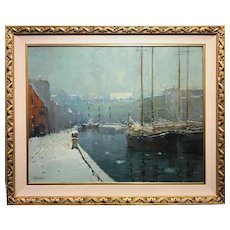 Arthur Clifton Goodwin Boston Winter Harbor Oil Painting, T Wharf