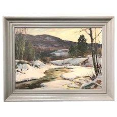 Aldro Thompson Hibbard Winter Landscape Oil Painting, Vermont Scene with River