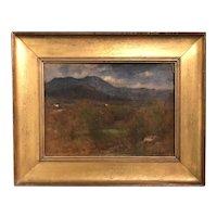 George Inness Tonalist Landscape Oil Painting, White Mountain Field Sketch circa 1875