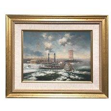 Jack Lorimer Gray Oil Painting, Paddlewheelers and Bridge, Niagara