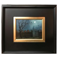 William R. Davis Halloween Oil Painting with Jack-O-Lanterns, Ghouls Gate