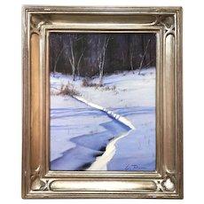 William R. Davis Winter Landscape Oil Painting, Snowy Creek, S. Woodstock VT