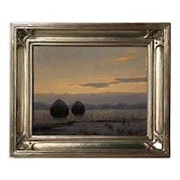 William R. Davis Landscape Oil Painting, Winter Salt Marsh with Haystacks