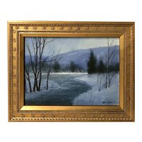 William R. Davis Landscape Oil Painting, Winter Sketch #11