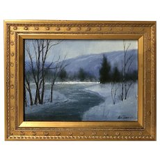 William R. Davis Landscape Oil Painting, Winter Sketch #11